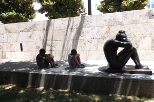 The children mimicking the pose of the La Nuit by Aristide Maillol ay the Nasher Sculpture Center, Dallas, Texas.